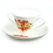 Two Handled China Cup and Saucer