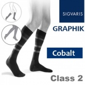 Sigvaris Graphik Men's Calf Class 2 Cobalt Compression Stockings