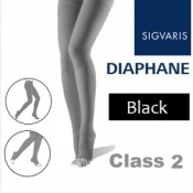 Sigvaris Diaphane Thigh Class 2 Black Compression Stockings - Open Toe