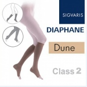 Sigvaris Diaphane Calf Class 2 Dune Compression Stockings - Open Toe