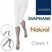 Sigvaris Diaphane Calf Class 1 Closed Toe Compression Stockings - Natural