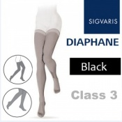 Sigvaris Diaphane Thigh Class 3 Black Compression Stockings