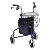 Drive Medical Blue Steel Triwalker with Bag, Basket and Tray
