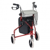 Drive Medical Red Steel Triwalker with Bag, Basket and Tray