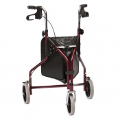 Drive Medical Two-Piece Red Steel Triwalker with Vinyl Bag