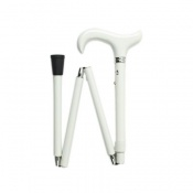 Easy Folding Adjustable White Derby Handle Walking Stick