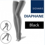 Sigvaris Eclat Infini Thigh Open Toe Compression Stockings - Black