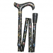 Elite Derby Handle Folding Walking Stick - Black Floral