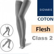 Sigvaris Coton Thigh Class 2 Flesh Compression Stockings - Open Toe