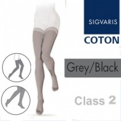 Sigvaris Coton Thigh Class 2 Grey Black Compression Stockings