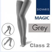 Sigvaris Magic Class 2 Thigh Open Toe Compression Stockings - Grey
