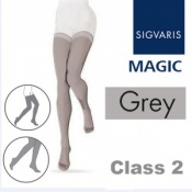 Sigvaris Magic Class 2 Thigh Closed Toe Compression Stockings - Grey