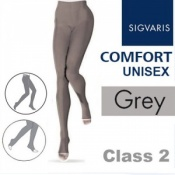Sigvaris Unisex Comfort Class 2 (RAL) Grey Compression Tights with Open Toe