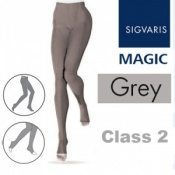 Sigvaris Magic Class 2 Open Toe Compression Tights - Grey
