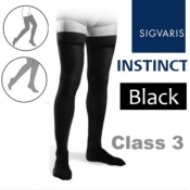 Sigvaris Instinct Men's Thigh Class 3 Black Compression Stockings