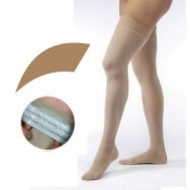 JOBST Opaque Compression Class 1 (18 -  21mmHg) Thigh High Amber Closed Toe Compression Garment with Soft Silicone Band