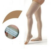 JOBST Opaque Compression Class 1 (18 -  21mmHg) Thigh High Amber Open Toe Compression Garment with Soft Silicone Band