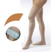 JOBST Opaque Compression Class 1 (18 -  21mmHg) Thigh High Caramel Closed Toe Compression Garment with Soft Silicone Band