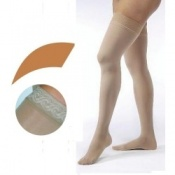 JOBST Opaque Compression Class 1 (18 -  21mmHg) Thigh High Caramel Closed Toe Compression Garment with Lace Silicone Band