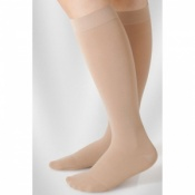 Juzo Dynamic Class 2 Almond Knee High Compression Stockings with Thin Silicone Border