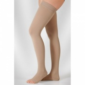 Juzo Dynamic Class 1 Sesame Thigh High Compression Stockings with Open Toe and Decorative Silicone Border