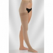 Juzo Dynamic Class 1 Almond Thigh High Compression Stockings with Open Toe and Waist Attachment