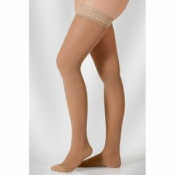 Juzo Hostess Class 1 Almond Thigh High Compression Stockings with Open Toe and Decorative Silicone Border