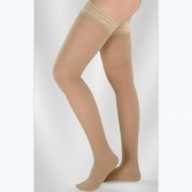 Juzo Soft Class 1 Poppy Seed Thigh Compression Stockings with Silicone Border