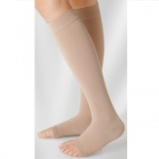 Juzo Soft Class 1 Almond Calf Compression Stockings with Open Toe and Silicone Border