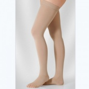 Juzo Soft Class 1 Almond Thigh Compression Stockings with Open Toe and Decorative Silicone Border