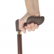 Left-Handed Soft-Touch Fischer Handle Dark Hardwood Orthopaedic Walking Cane
