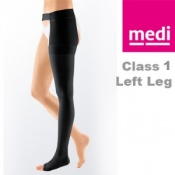 Medi Mediven Plus Class 1 Black Left Leg Stocking with Waist Attachment and Open Toe