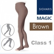 Sigvaris Magic Class 1 Open Toe Maternity Compression Tights - Brown
