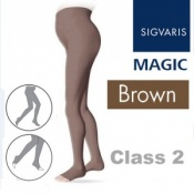 Sigvaris Magic Class 2 Open Toe Maternity Compression Tights - Brown