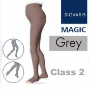 Sigvaris Magic Class 2 Open Toe Maternity Compression Tights - Grey