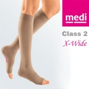 Medi Mediven Plus Class 2 Beige Below Knee Extra Wide Compression Stockings with Open Toe