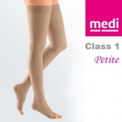 Medi Mediven Plus Class 1 Beige Petite Thigh Compression Stockings with Open Toe