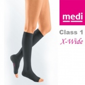 Medi Mediven Plus Class 1 Black Below Knee Extra Wide Compression Stockings with Open Toe
