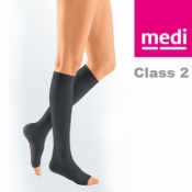 Medi Mediven Plus Class 2 Black Below Knee Compression Stockings with Open Toe
