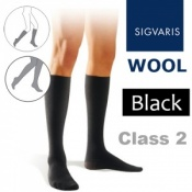 Sigvaris Wool Men's Calf Class 2 Black Compression Stockings
