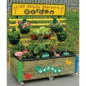 Garden Flower Bed Planter Trough with Hanging Baskets