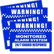 Watchguard Monitored Alarm System Security Warning Stickers Pack of 4