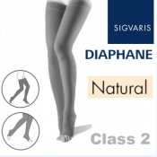Sigvaris Diaphane Thigh Class 2 Natural Compression Stockings - Open Toe