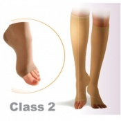 Sigvaris Cotton Class 2 Black Below Knee Compression Stockings with Open Toe and Knobbed Grip Top