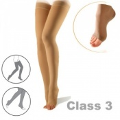 Sigvaris Cotton Class 3 Nature Thigh Compression Stockings with Open Toe and Knobbed Grip Top