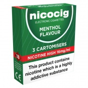 Nicocig Electronic Cigarette High Strength Menthol Refill Cartridges