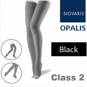 Sigvaris Opalis Thigh Class 2 Black Compression Stockings - Open Toe