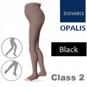 Sigvaris Opalis Class 2 Black Compression Maternity Tights - Open Toe