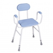 Perching Stool PU Seat with Padded Arms and Padded Back