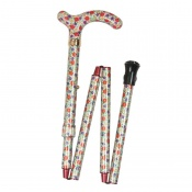 Petite Adjustable Folding Easy-Joint Orange and Purple Floral Walking Cane